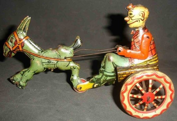 Ingap Tin-Carriages Tin toy, happy hooligan character figure riding donkey car