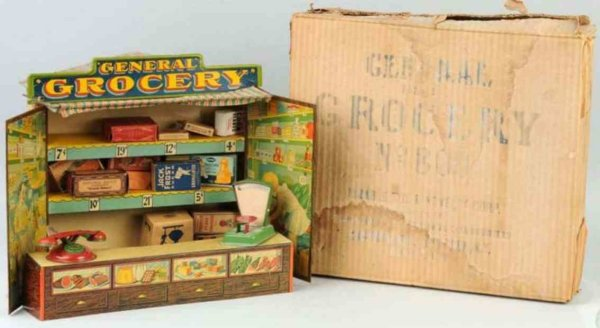 Durable Toy & Novelty Co Dollshouses -Accessories Tin grocery store, lithographed tin  scale, tin ph