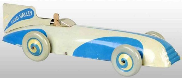 Chad Valley Co Ltd. Tin-Race-Cars Race car of lithographed tin wind-up toy, marked  Made in E