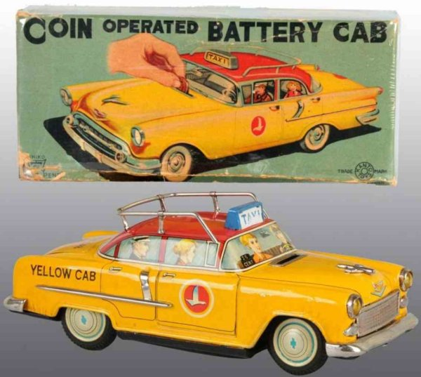 Kanto Tin-Cars Coin operated battery yellow taxi of tin, car is a Chevy wit