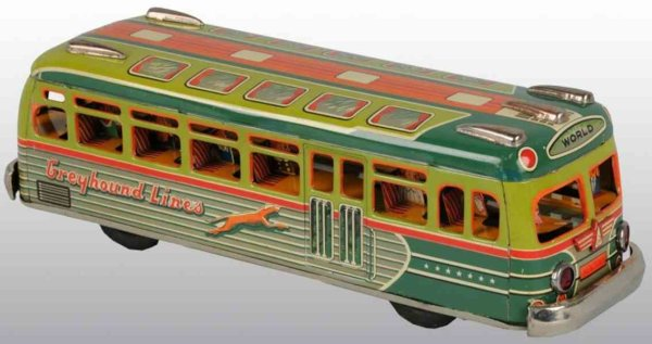 Marusan Shoten Tin-Buses Greyhound lines bus of lithographed tin with friction dirve,