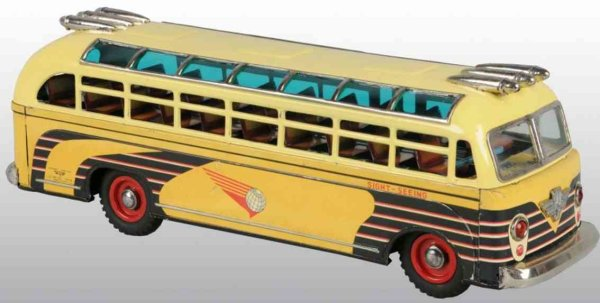 Yamazaki Tin-Buses Sight-Seeing bus of lithographed tin with friction drive
