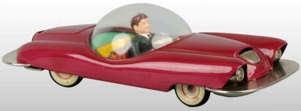 Linemar Celluloid-Vehicles Futuristic car of plastic with friction drive, in red with m