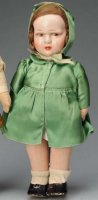 Bing Dolls Girl doll with molded cloth head covered with...