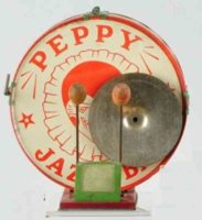 Chein Co. Tin-Toys Peppy Jazz Band drum with harlequin...