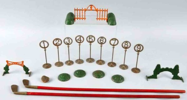 Freidag Cast-Iron-Toys Golf set made of cast iron, Freidag Manufacturing Company in