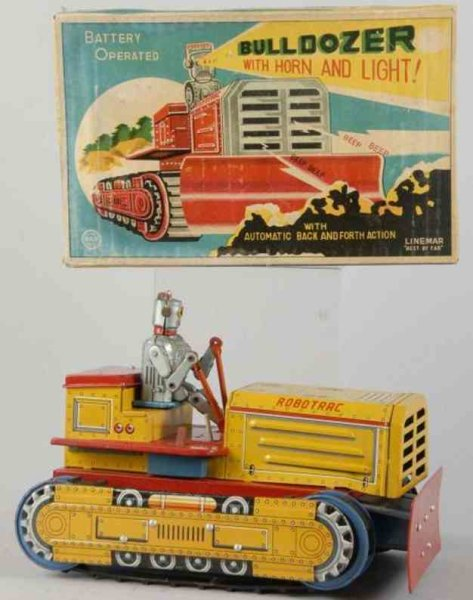 Linemar Tin-Tugs/Rollers Tin lithographed robot bulldozer batter-operated with horn a