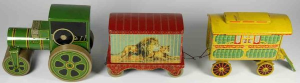 Chad Valley Co Ltd. Tin-Tugs/Rollers Tin biscuit caravan and menagerie circus set, tractor with c