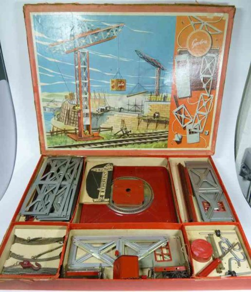 Geobra Metal Kits Crane construction kit made of metal in box with instruction