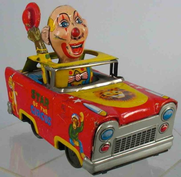 Cragstan Tin-Other-Vehicles Tin star of the circus freakish clown in car with great grap