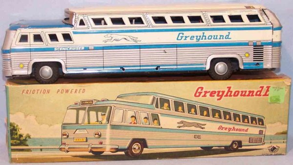 Momoya Shoten Tin-Buses Greyhound Bus Scenicuriser made of tin with flywheel drive,