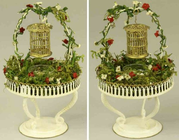 Rock & Graner Tin-Toys Bird bath, very intricate tin plate example, features detail