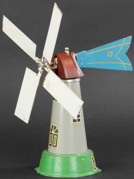 Arcade Tin-Toys Windmill made of pressed steel, tower painted in grey with g