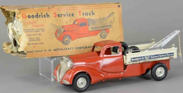 Metalcraft Corp. St Louis Tin-Trucks Goodrich service truck , pressed steel, deco style enclosed