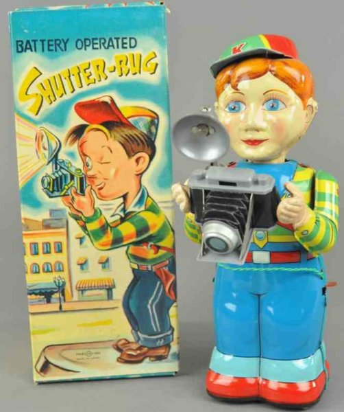 TN Nomura Toys Tin-Figures Shutter-bug battery operated toy, boxed example, made of lit