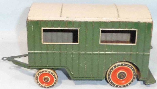 Tippco Tin-Other-Vehicles Building or caravan car made of tin, lithographed in green,
