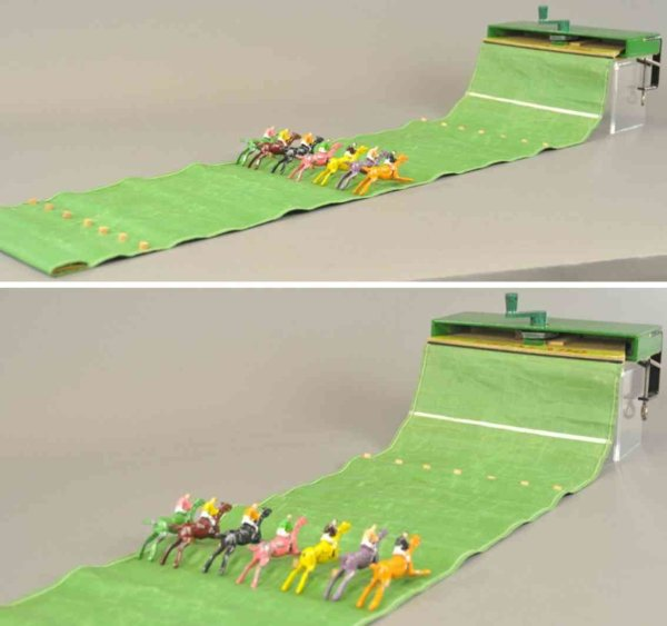 Chad Valley Co Ltd. Cast-Iron-Toys Table top horse racing game, features a cloth racing area, w