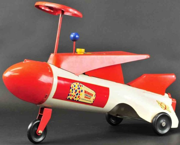 Roberts Manufacturing Co Tin-pedal cars Sit and ride rocket ship made of pressed steel, painted in