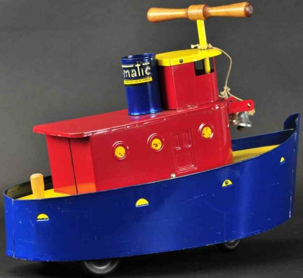 Tru-Matic Toy Company Tin-pedal cars Ride-on tug boat toy, Mount Vernon, N.Y., a whimsical toy bo