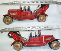 Distler Tin-Fire-Truck Fire ladder car, complete with all...