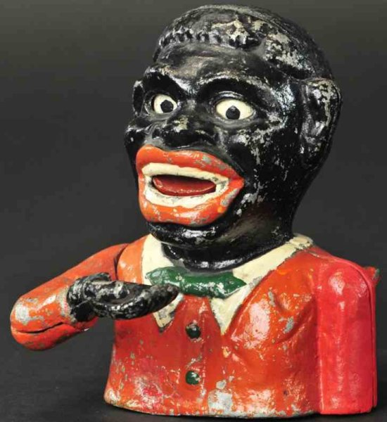 Webster G. L. Tin-Mechanical Banks Black Joe as mechanical bank, manufactured by G. L. Webster,