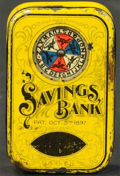 North Bros. Mfg. Co. Tin-Mechanical Banks Fortune horse race savings mechanical bank, Patented Oct.