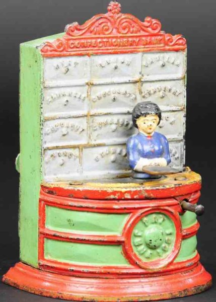 Kyser & Rex Cast-Iron-Mechanical Banks Cast iron Confectionery mechanical bank, designed and patent