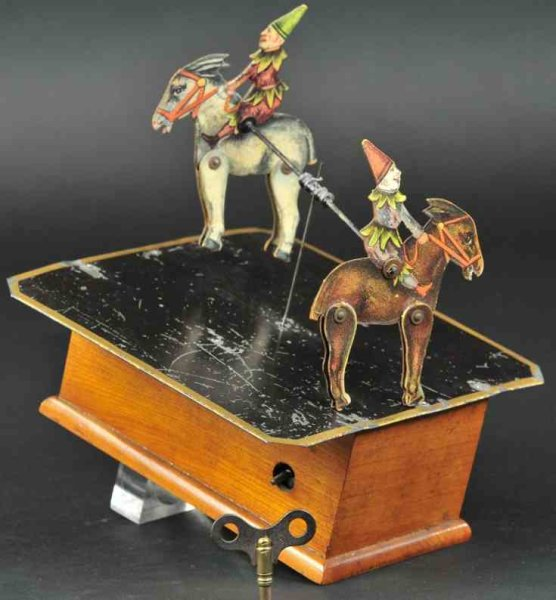 Ives Tin-Clowns Mechanical revolving mule dancers, patent by W. H. Hubbell,
