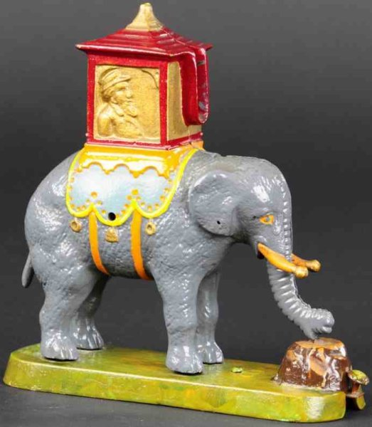 Gurney Refrigerator Co. Cast-Iron-Mechanical Banks Elephant with howday locked mechanical bank, orig