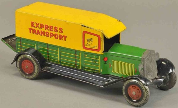 Wells Tin-Trucks Express van, lithographed tin, colorful delivery van, side g