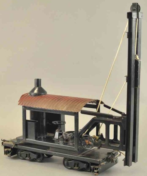 Buddy L Tin-Tugs/Rollers Locomotive pile driver made of pressed steel, very desirable