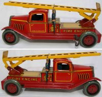 Wells Tin-Fire-Truck Fire ladder engine in red and...