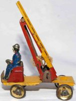 Fischer Georg Tin-Penny Toy Firemans ladder car in yellow...