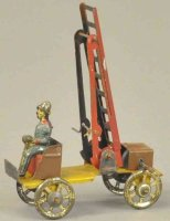 Fischer Georg Tin-Penny Toy Fire ladder truck, embossed...