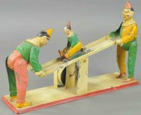 Guenthermann Tin-Clowns See-saw with three clown, hand...