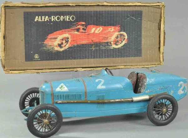 Burnett Ltd Tin-Race-Cars P2 Alfa Romeo racer with box, very popular French toy car, d
