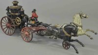 Ives Cast-Iron-Carriages Clockwork fire engine, cast...