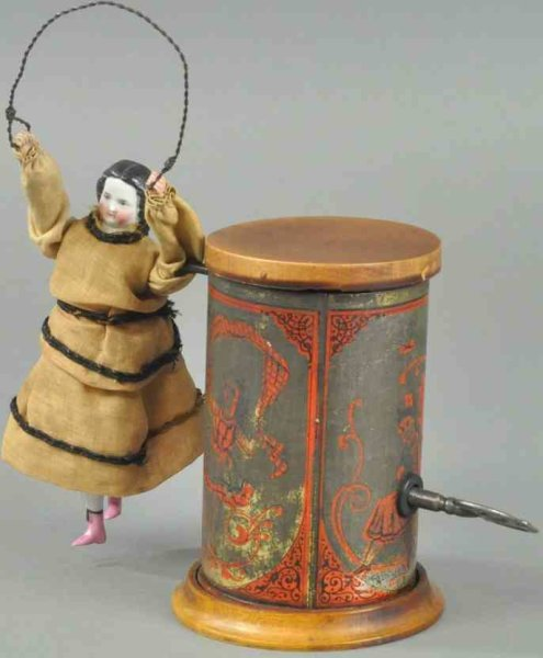 Automatic Toy Works Tin-Toys Girl skipping rope, attributed to Automatic Toy Works, excee