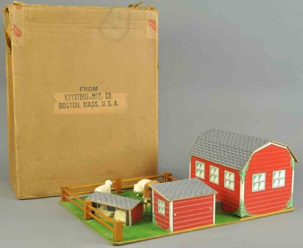 Keystone Wood-Toys Farm set, table top display set, includes barn, shed and fen