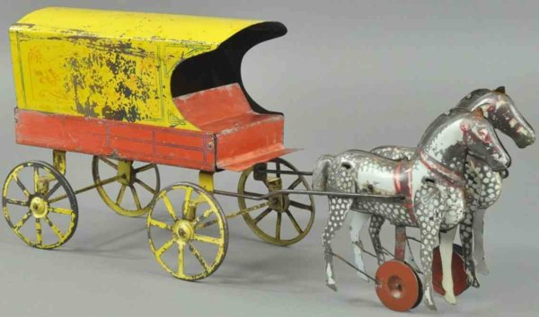 Converse Morton E. Tin-Carriages Ice wagon,  lithographed tin, yellow covered wagon drawn by