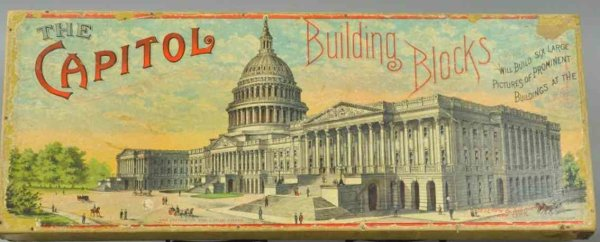 Selchow and Righter Wood-Toys Capitol building lithographed cardboard blocks, great graphi