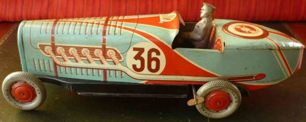Larnaude Martinand Tin-Race-Cars Boat tail race car, scarce example, tin wind-up toy, rare la