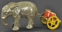 Hubley Cast-Iron-Mechanical Banks Elephant with chariot...