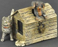 Unknown Cast-Iron-Mechanical Banks Cat and dog at...