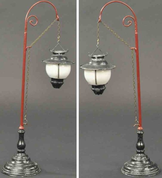 Schoenner Railway-Lamps/Lanterns Lamp hand painted red pole with ornate wire support for milk