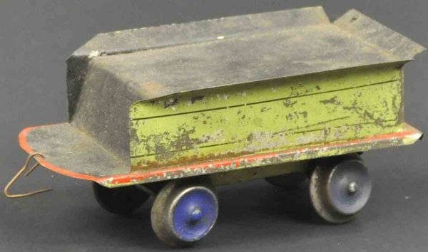Beggs Eugene Railway-Tender Early hand painted tin tender, four wheels, green with red b