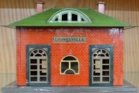Lionel Railway-Stations Tin station with lithographed red...