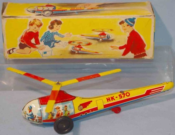 Hammerer & Kühlwein Tine Ariplanes Small helicopter made of tin, lithographed in yellow, red, b