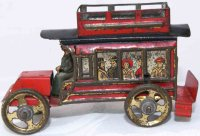 Fischer Georg Tin-Penny Toy Traveller bus omnibus in red,...