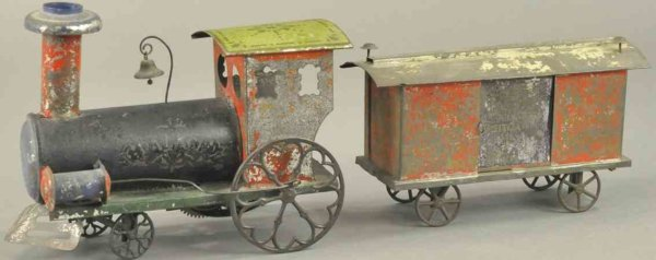 Ives Railway-Floor Train Locomotive with box car, hand painted tin floor train, clock